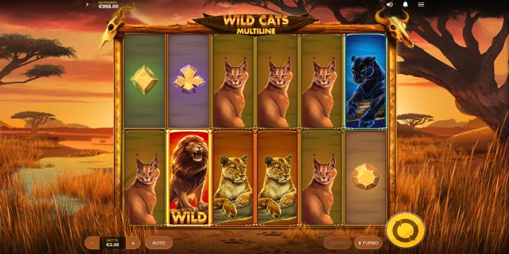 Slot Wild Cats Multiline Red Tiger