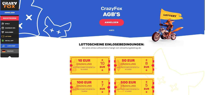 Lotterie Crazy Fox Casino