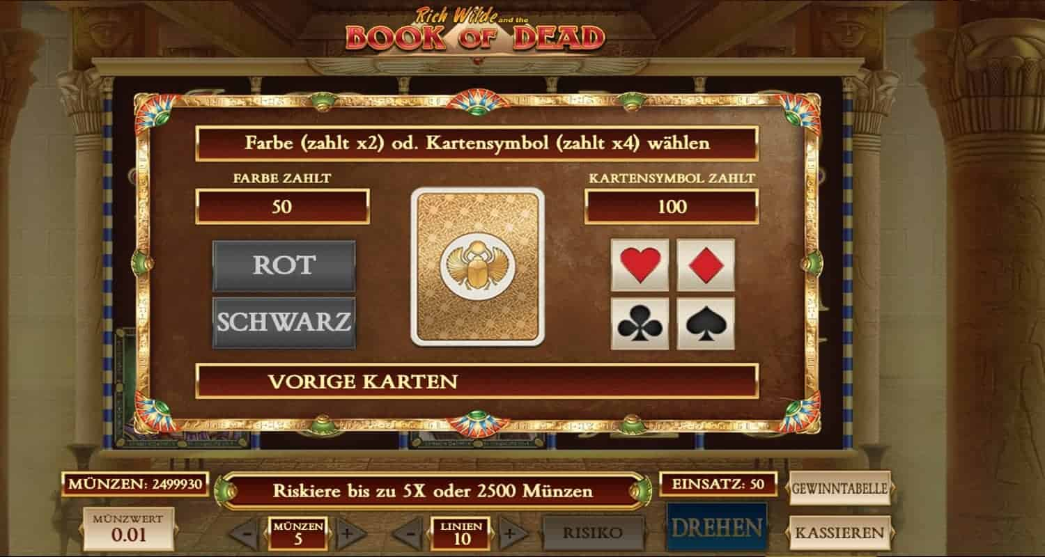 Book of Dead Slot Risiko-Feature