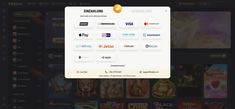 FezBet Casino Bonus Zahlungsmöglichkeiten