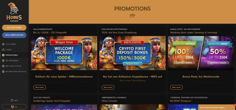 Horus Casino Bonus Aktionen