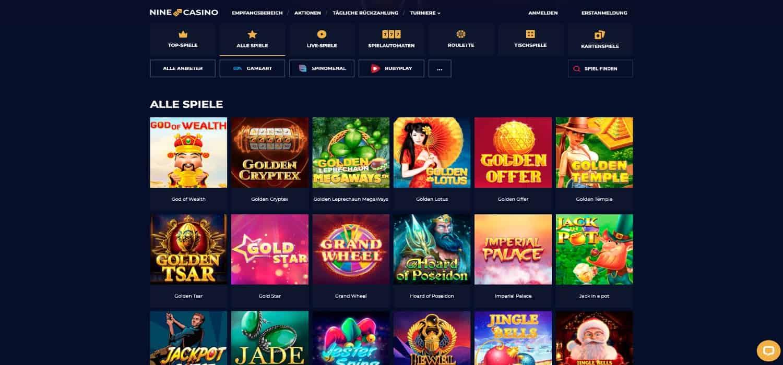 Nine Casino Alle Spiele