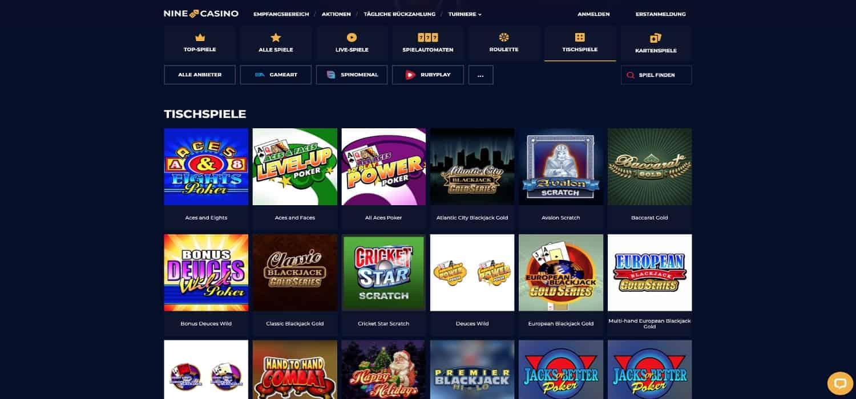 Nine Casino Tischspiele